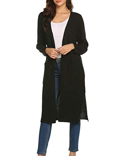 AKEWEI Long Rib Knit Duster Sweater Open Front Thick Coat for Women Fall Spring Black