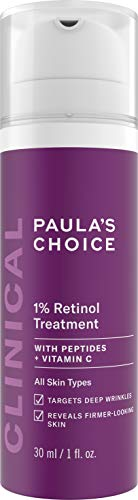 Paula's Choice CLINICAL 1% Retinol Treatment Cream with Peptides, Vitamin C & Licorice Extract, Anti-Aging & Wrinkles, 1 Ounce (Best Over The Counter Retinol Treatment)