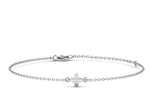 Or Blanc 18 ct Bracelet Diamant en forme de fleur, 0.01 Ct Diamant, GH-SI, 1.31 grammes.