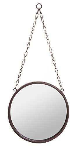 Decorative Round Hanging Wall Mirror with Chain, Country Rustic Inspired Rust Finish, -