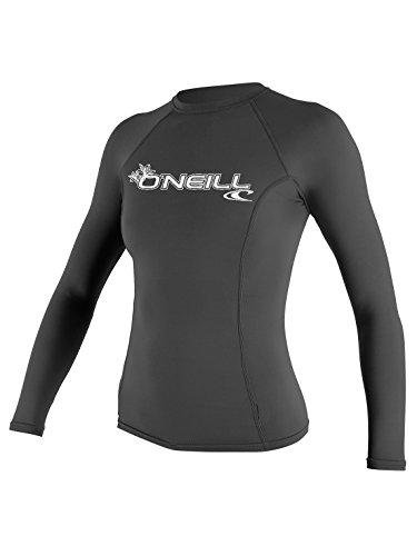 O'Neill Wetsuits Women's Basic Skins Upf 50+ Long Sleeve Rash Guard, Graphite, (Graphic Rash Guard)