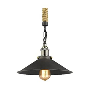 YOBO Lighting Vintage Glass Pendant Light With Hemp Rope