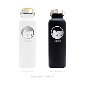 Personalized Stainless Steel Water Bottle 25oz (750ml) Premium Quality Double Wall Insulated Vacuum Elemental Bottle Great for Birthday Gift, Valentines Gifts, or Wedding Gifts, Accept Custom Logo