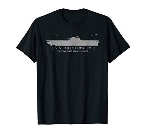 USS Yorktown CV 5 WWII Aircraft Carrier Silhouette T-shirt