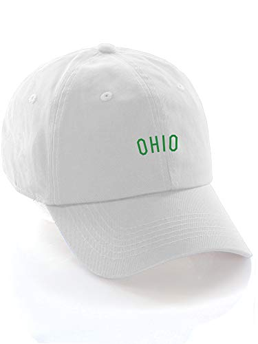 Daxton USA Cities Baseball Dad Hat Cap Cotton Unstructure Low Profile Strapback - Ohio White Green ()