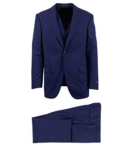 (Pal Zileri Men's Shadow Stripe Wool Two Button 3 Piece Suit 40 Blue)