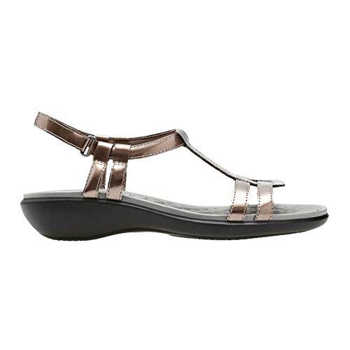 Aster Sandals Leather - CLARK'S Women's Sonar Aster Sandal, Pewter Synthetic Patent, 7 Medium US