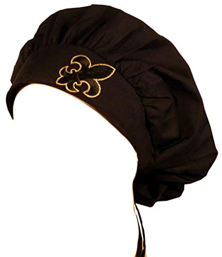 Specialty Banded Bouffant - Fleur De Lis Patch on Black