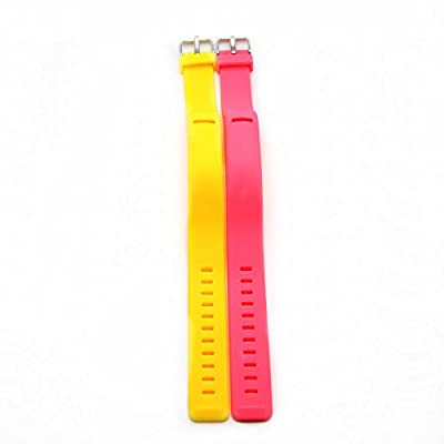 Austrake 2Pcs Replacement Silicone Wristband Band for Fitbit Flex Strap Bands (Yellow + Red)