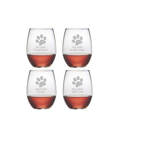 - Dog Wisdom 21-ounce Stemless Wine Glasses (Set of 4) are great birthday gifts and couples gifts. The unique wine glasses are top gifts for wedding gifts and relaxation gifts for holiday gifts. The wine glass set are great housewarming gifts and bridal shower gifts as well as birthday gifts for men and birthday gifts for women.