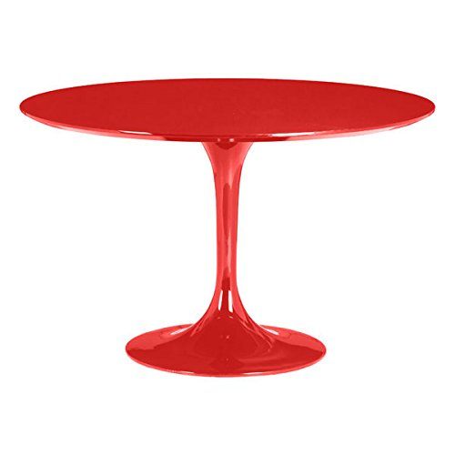 Zuo Modern Desk Modern (Zuo Modern 102174 Wilco Table in Red, Echoes some of the great Mid-century design with its tulip base and bevel edge round top, Top is glossy painted MDF and its base is glossy coated fiberglass, 250 lbs. weight capacity)