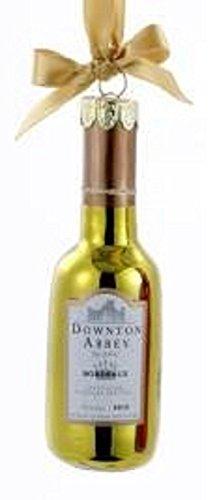 "Kurt Adler 4.5"" Downton Abbey Shiny Gold Glass Blanc Wine Bottle Christmas Ornament"