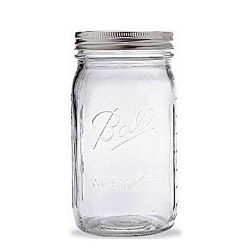 Ball Quart Jar with Silver Lid, Wide Mouth, 1 Jar ()