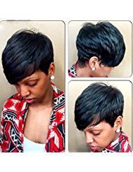 Deyngs Sexy Women's Wig Short Straight Pixie Cut Synthetic Wigs for Black Women Natural Black Wigs Made of Heat Resistant Synthetic Hair+ free Wig (Buy Mullet Wig)