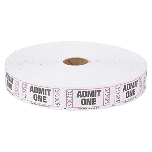Admit 1 Single Ticket Rolls – White – 2000 Per Roll – Carnival Tickets - Concert Tickets – Admission Tickets -
