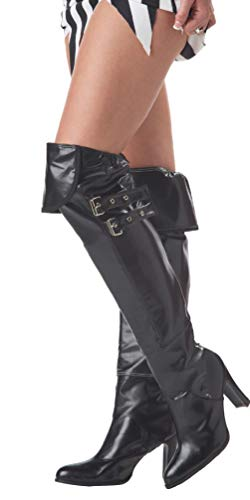 Adult Black Deluxe Boot Covers Costume Halloween]()