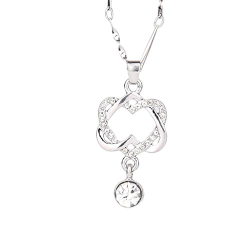 (Caopixx Women Necklace, Ladies Double Heart Pendant Crystal Rhinestone Necklace Lovers' Girlfriend Chain Jewelry (Silver, Rhinestone))
