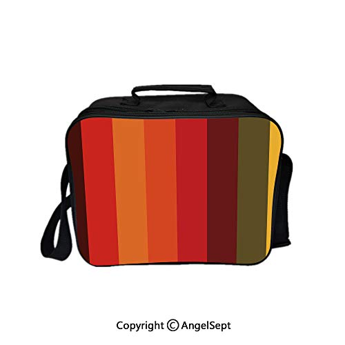 Fashion Custom Lunch Bag Tote Bag,Vertical Striped Color Bands Tones Geometric Straight Lines Artful Design Decorative Multicolor 8.3inch,Lunch Organizer Lunch Holder For Unisex Adults ()