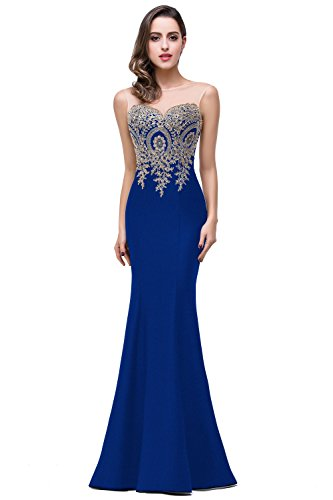 Lace Appliques Sleeveless Mermaid Prom Dreses for Women 2016 Long, 12, Royal Blue