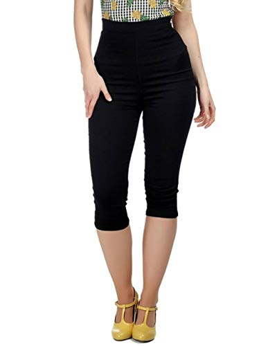 (Collectif Clothing Women's Gracie Vintage Inspired Solid High Waist Capri Pants Black XL(16))