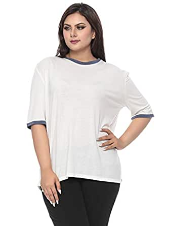 G.ya White Jersey Round Neck T-Shirt For Women