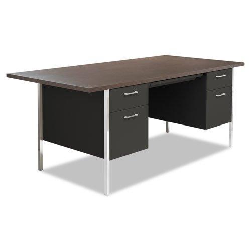 Double Pedestal Steel Desk, Metal Desk, 72w x 36d x 29-1/2h, Cherry/Putty Alera Double Pedestal Steel Desk