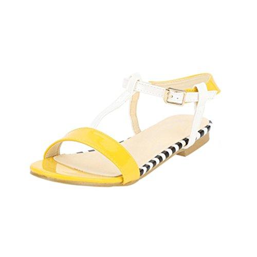 à Exposé de Base Ceinture Sandales Jaune Rayures d'été Femme Day Orteil Simple Été Sandales 2018 Chaussures Plates Fine Amazon LUCKYCAT Chaussures Talons Prime Pantoufles SZ0Rvqv