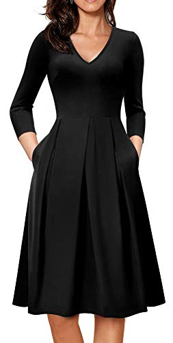 HOMEYEE Women's V-Neck 3/4 Sleeve Flare Casual Dress with Pockets A126(8,Black)