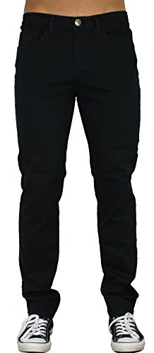 Blu Mens Slim Fit Jeans 20 Colors Soft Stretch Skinny Black 40W x 32L