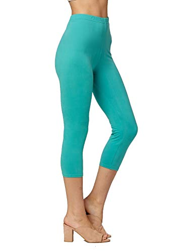 (Premium Ultra Soft Womens High Waisted Capri Leggings - Cropped Length - Solid - Mint Green - Small/Medium (0-12))