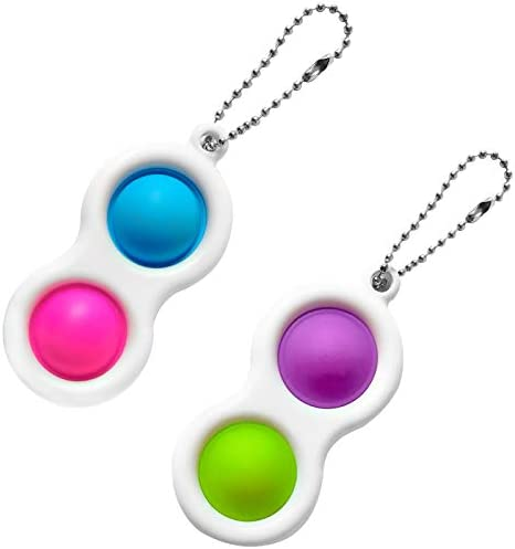 bluePink+greenOrange HooYiiok Simple Dimple Fidget Toy,Stress Relief Hand Toys for Kids and Adults,Push Pop Bubble Fidget Sensory Toys,Decorative Keychain for Relieve Stress
