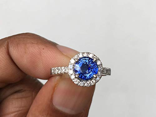 Ceylon Natural Round blue sapphire ring.Cornflower blue ring 18k white gold Diamond Engagement Ring ()