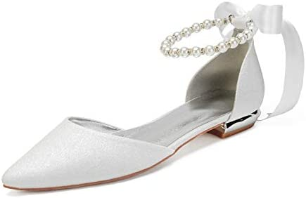 Lianyunneiyi Lady Sequin Pointed Flats Band Bow Pearl Ankle Strap