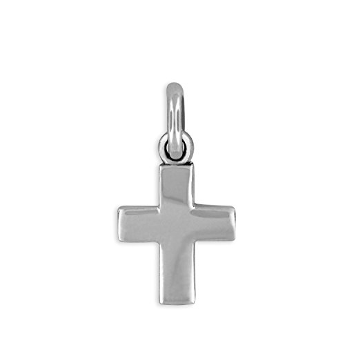 (Sterling Silver Mini Cross Charm Pendant )