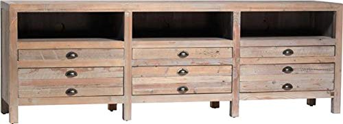 (Plasma Stand Dovetail Kingsley Bleached Pine Reclaimed New 6 -Drawer)