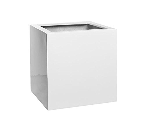 Pottery Pots Elegant Fiberstone Cube Planter Glossy White Pot - Block Shaped size 16x16x16 by Pottery Pots