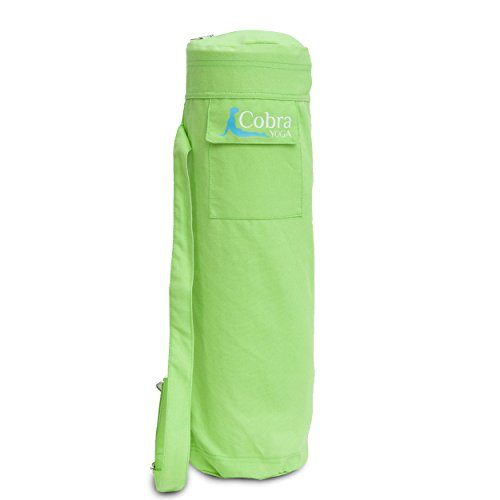 Cobra Yoga Mat Bag with Pocket and Shoulder Strap - Large to Fit Towel - Green