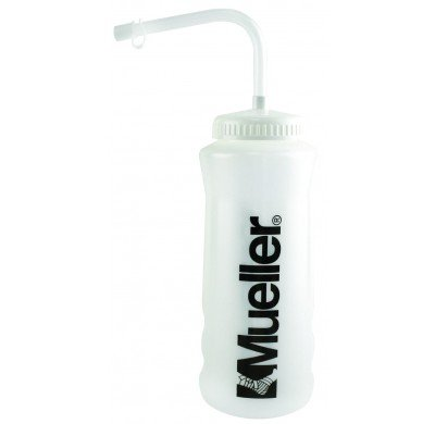 Mueller 32oz Black Logo Clear Squeeze Bottle with Straw and Cap