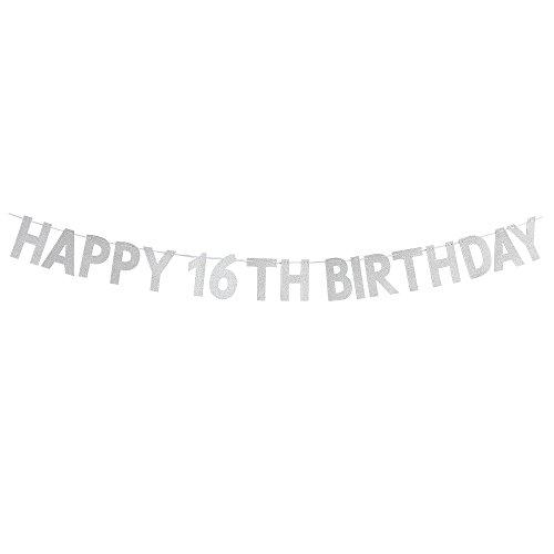WeBenison Happy 16th Birthday Banner - Sweet 16 Birthday Party Decorations Supplies - Silver