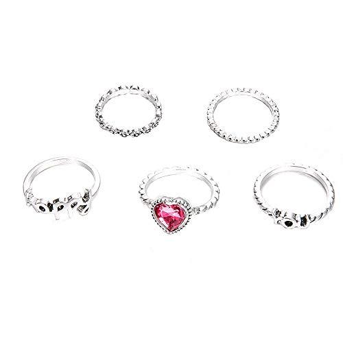 5 Rings Set New Bohemian Vintage Women Alloy Star Moon Shape Finger Rings ()