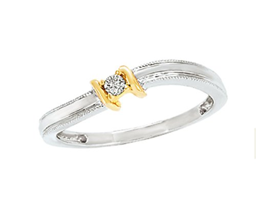 10k White and Yellow Gold Ring with Natural Diamond Center (0.05ctw)- Size - Dimond Center