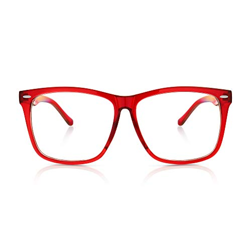 (5zero1 Fake Glasses Big Frame Clear For Women Men Fashion Classic Retro Costumes Party Halloween, Red)