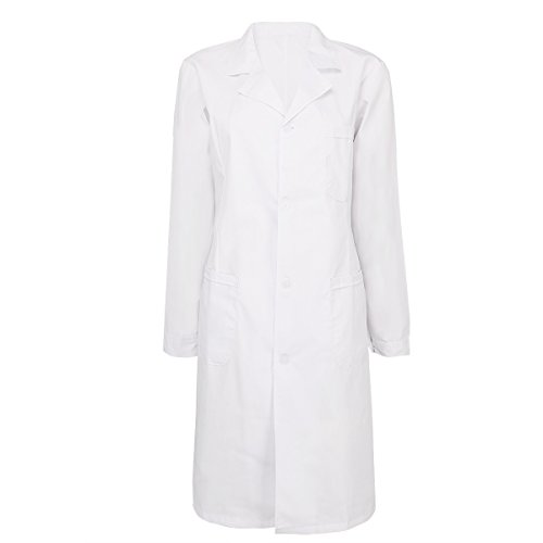 Work Appropriate Halloween Costumes For Women - iEFiEL Adult Long Sleeve Scrubs Lab Coat Medical Nurse Doctor Uniform Coat Women XXL