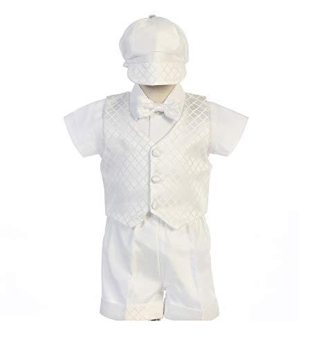 Swea Pea & Lilli Jasper Diamond Jacquard Vest w/Shantung Shorts & Hat (White, 2T)