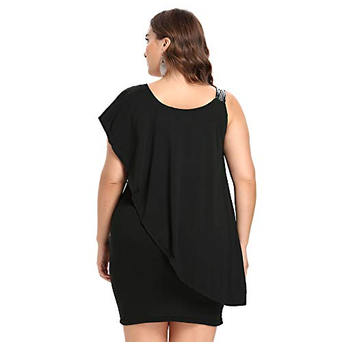 5xl Xl Ytjh Off Nero Plus Fitted Asimmetrico Taglie Paillettes Ruffle Tie Girocollo Donna Mini Dress Nudo Shoulder wR6xRZCrq