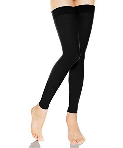 Medical Thigh High Compression Stockings With Silicone Band Firm Support 20-30 mmHg,Gradient Footless Compression Sleeves Thigh Support Stockings Hose for Swelling, Varicose Veins, Edema (Black, L)