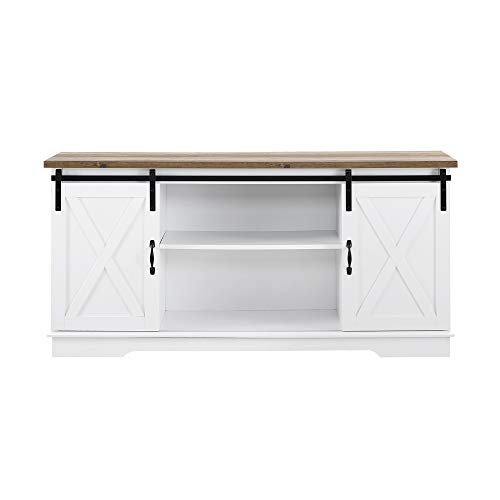 """Walker Edison WE Furniture TV Stand 58"""" White/Rustic Oak, White/Reclaimed Barnwood"""