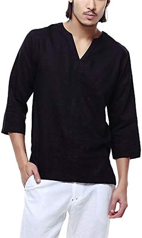 DEELIN Hombres Baggy AlgodóN Lino 3/4 Manga Retro V Cuello Camisetas Tops Blusa: Amazon.es: Ropa y accesorios