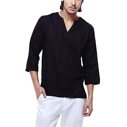 Men's Tops Classic Simple Men's Baggy Cotton Linen 3/4 Sleeve/Short Sleeve Retro V Neck T Shirts Tops Blouse -