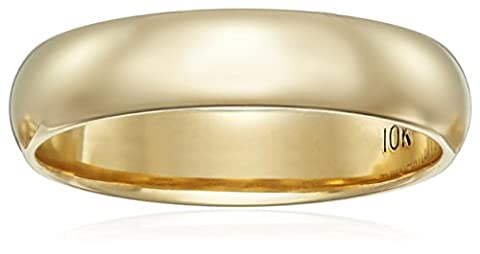 Classic Fit 10K Yellow Gold Band, 4mm, Size 5 (10k Gold Ring Size 5)